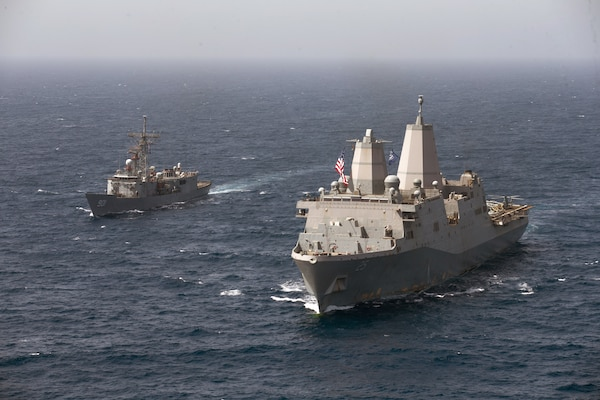USS Somerset (LPD 25) conducts a passing exercise with the Egyptian navy guided-missile frigate ENS Sharm El-Sheikh (FFG 901).