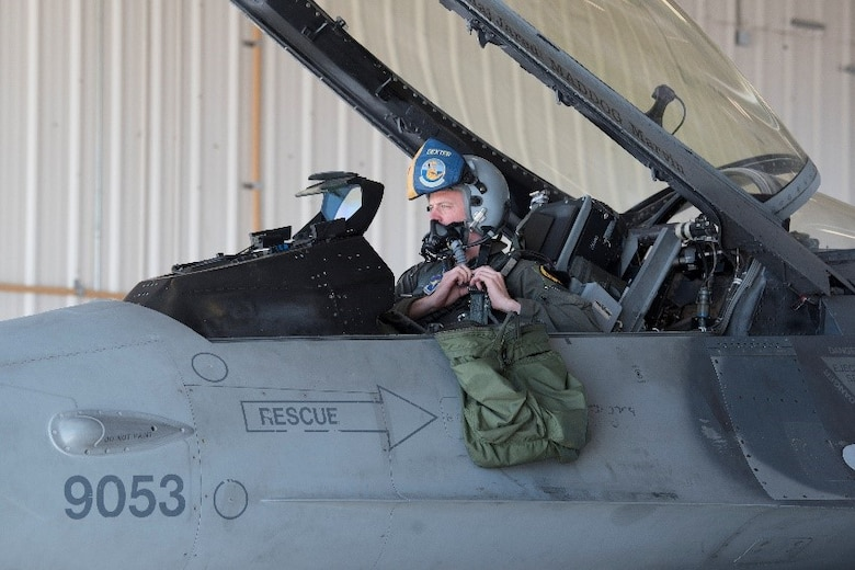 Capt. Michael Dreher, 311th Fighter Squadron pilot straps into F-16 Viper Aircraft 9053, March 2, 2021, on Holloman Air Force Base, New Mexico. The 849th Aircraft Maintenance Squadron spent 22 months rebuilding the aircraft to return to operational status. (U.S. Air Force photo by Airman 1st Class Jessica Sanchez)