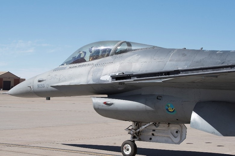 The F-16 Viper Aircraft 9053 prepares to taxi after preflight checks, March 2, 2021, on Holloman Air Force Base, New Mexico. The F-16 Viper had 536 parts replaced after being used as a cannibalization jet due to being in disrepair after extended damage. (U.S. Air Force photo by Airman 1st Class Jessica Sanchez)
