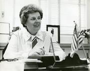 Pioneer, trailblazer and hero Captain Eleanor L'Ecuyer at her desk, date unknown.
