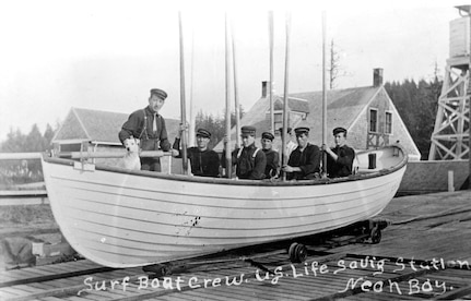 Life-saving crew on a surfboat at Neah Bay station.