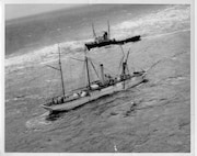 The former Revenue & Coast Guard Cutter Bear sinks while under tow off Newfoundland.