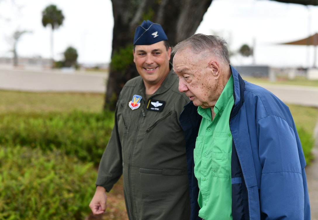 """Gen. (ret.) Charles """"Chuck"""" Horner (right), walks with U.S. Air Force Col. Christopher Peters, 325th Fighter Wing vice commander (right), at Tyndall Air Force Base, Florida, March 18, 2021. Horner visited Tyndall to talk with leadership and reminisce about his service here in the 1980s. (U.S. Air Force photo by Staff Sgt. Stefan Alvarez)"""