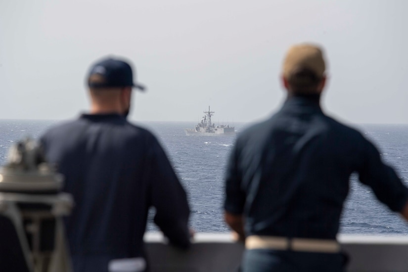 210314-N-JC800-1058 RED SEA (March 14, 2021) - U.S. Navy Sailors observe Egyptian guided-missile frigate ENS Sharm El Sheikh (FFG 901) from the bridge wing of amphibious transport dock ship USS Somerset (LPD 25) during a passing exercise in the Red Sea, March 14. Somerset, part of the Makin island Amphibious Ready Group, and the 15th Marine Expeditionary Unit are deployed to the U.S. 5th Fleet area of operations in support of naval operations to ensure maritime stability and security in the Central Region, connecting the Mediterranean and Pacific through the western Indian Ocean and three strategic choke points. (U.S. Navy photo by Mass Communication Specialist 2nd Class Heath Zeigler)