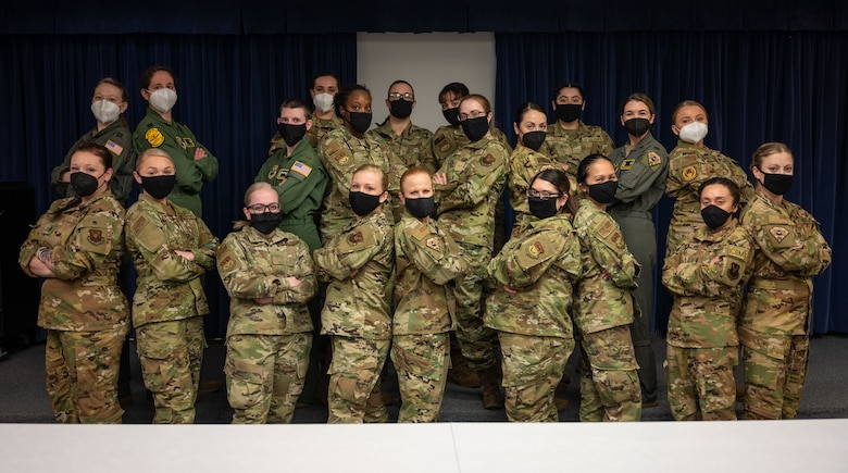 Missileers from the 341st Operations Group pose for a group photo in honor of International Women's Day, Malmstrom Air Force Base, Montana, March 10, 2021.