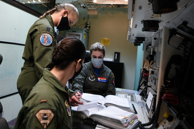 An all female missileer crew from the 90th Operations Group prepares for alert for International Women's Day, F.E. Warren Air Force Base, Wyoming, March 5, 2021.