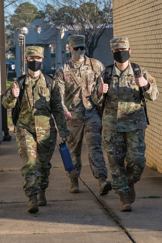 Senior Noncommissioned Officer Academy students walk to class March 4, 2021, on Maxwell Air Force Base's Gunter Annex. After nearly a year of only virtual classes, SNCOA welcomed back its first in-residence class this month. (U.S. Air Force photo by Airman 1st Class Cody Gandy)