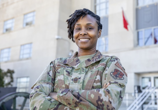 U.S. Air Force Chief Master Sgt. Naconda Hinton, Joint Task Force senior enlisted leader, District of Columbia National Guard talks about her experiences throughout her career at the D.C. Armory in Washington, D.C. Feb. 7, 2021. Celebrating diversity is a key factor in building diverse teams that are successful and ready. (U.S. Army National Guard photo by Staff Sgt. Erica Jaros)