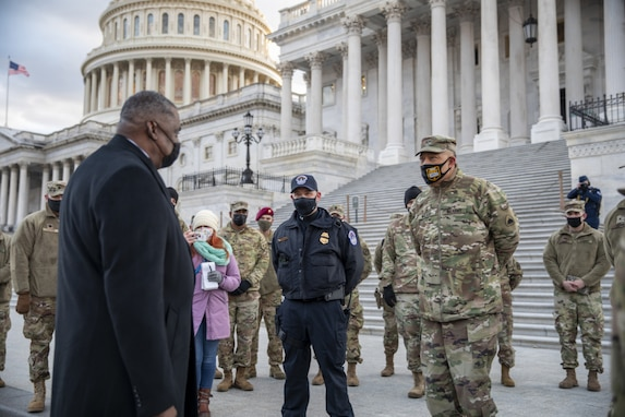 U.S. Secretary of Defense Lloyd J. Austin III meets with U.S. Army Maj. Gen. William J. Walker, commanding general, District of Columbia National Guard, and senior leaders at the U.S. Capitol in Washington, D.C. Jan. 29, 2021. The National Guard has been requested to continue supporting federal law enforcement agencies with security, communications, medical evacuation, logistics, and safety support to district, state, and federal agencies through mid-March. (U.S. Army National Guard photo by Staff Sgt. Erica Jaros)