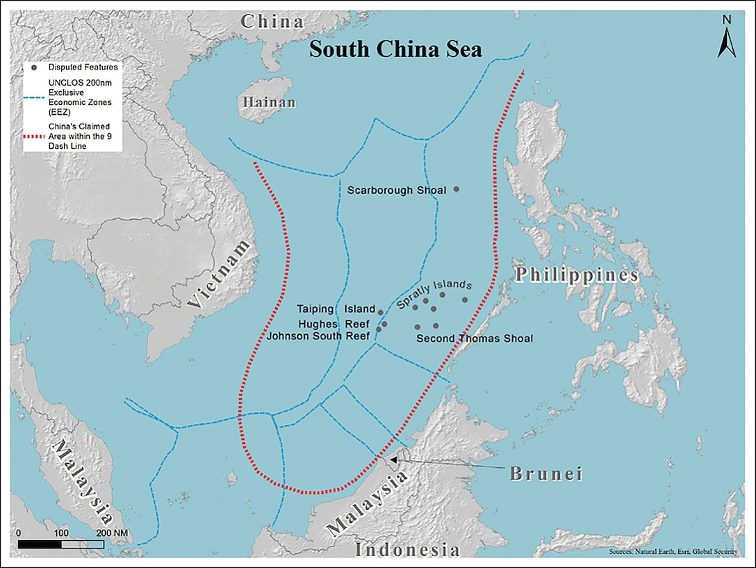 The area which is claimed under China's nine dashed line. (Keanehm, May 14, 2020)