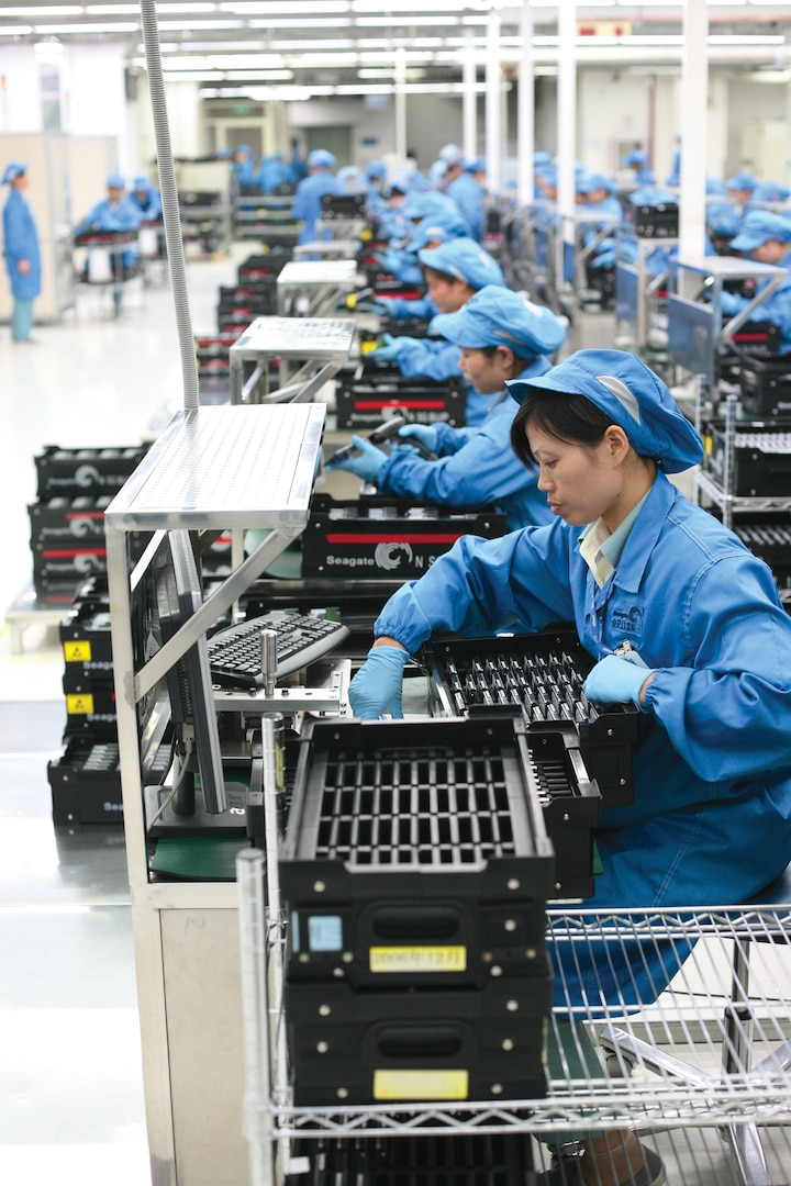 Workers perform final testing and QA before sending drives off to customers on its 2.5-inch notebook lines at Seagate Wuxi Factory. (Robert Scoble, November 6, 2008)