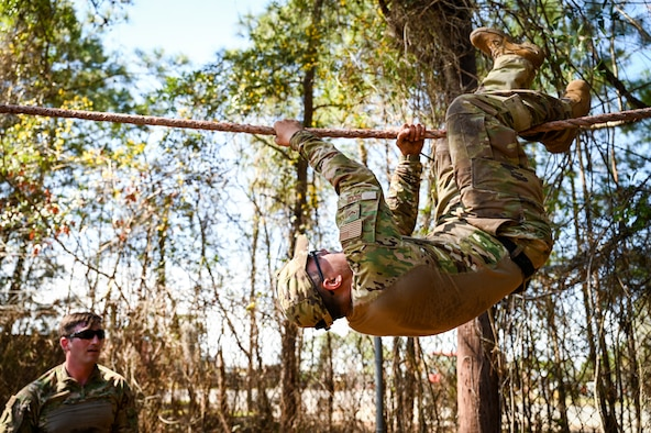 Airman 1st Class Colin Ricco, a security forces specialist at the 165th Security Forces Squadron, Georgia Air National Guard, completes the 11-task obstacle course March 12, 2021, in Savannah, Ga., during a tryout for the new 165th Strategic Response Team. The team will be a group of security forces Airmen who are highly trained and equipped to respond to emergencies requiring advanced police tactics.