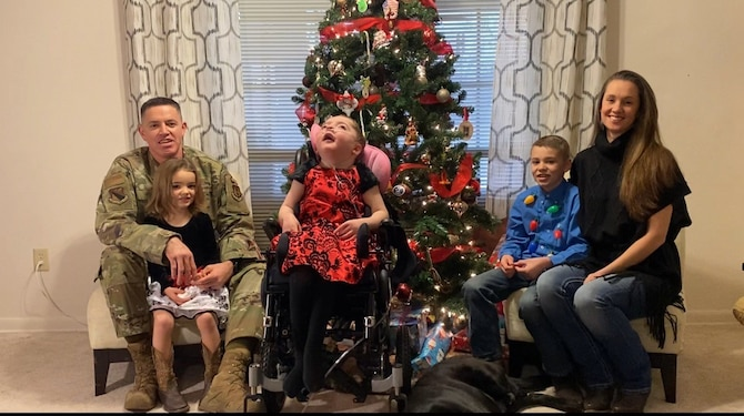 Chief Master Sgt. Jason Shaffer, 88th Air Base Wing command chief, and his family have tackled significant adversity in recent years. Their daughter, Teagan, was born with a congenital diaphragmatic hernia and then contracted a life-threatening respiratory virus. CONTRIBUTED PHOTO