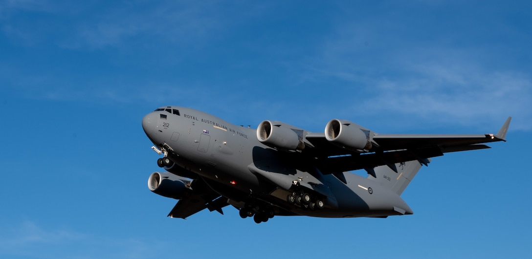A Royal Australian Air Force C-17 Globemaster III prepares to land at Dover Air Force Base, Del., March 13, 2021. The U.S. and Australia maintain a robust relationship underpinned by shared democratic values, common interests and cultural bonds. The U.S.–Australia alliance is an anchor for peace and stability in the Indo-Pacific region and around the world.