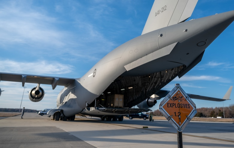 A Royal Australian Air Force C-17 Globemaster III prepares to be loaded with cargo at Dover Air Force Base, Delaware, March 13, 2021. The U.S. and Australia maintain a robust relationship underpinned by shared democratic values, common interests and cultural bonds. The U.S.–Australia alliance is an anchor for peace and stability in the Indo-Pacific region and around the world.