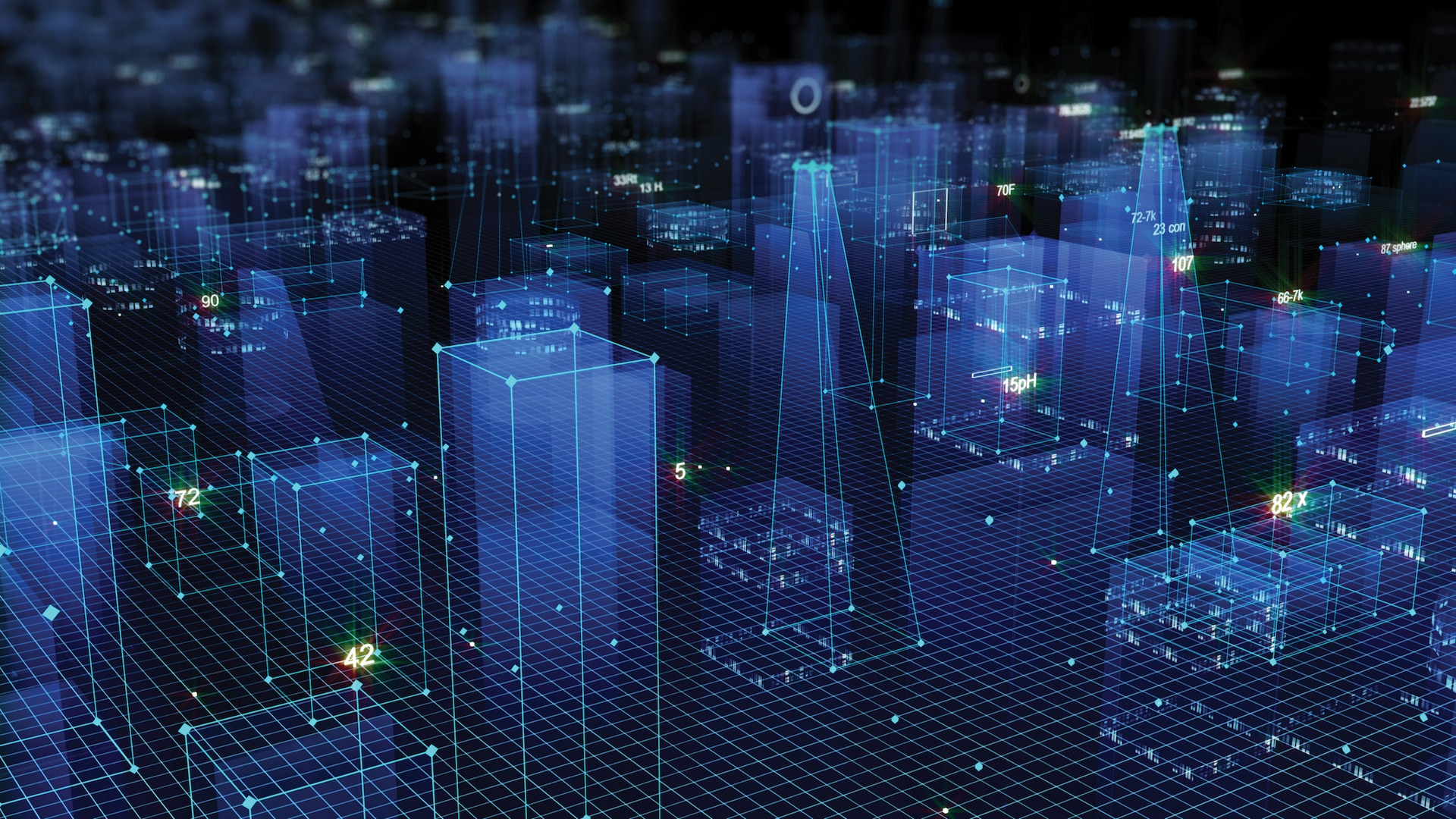 3D Rendering abstract technological digital city from data in cyberspace, information storage in the information space. (iStck photo: ID: 1071154136, by vitacopS)