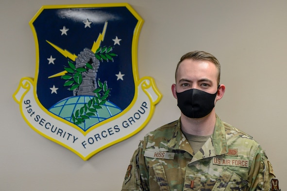 2nd Lt. Axel Huss, Executive Officer for the 91st Security Forces Group at the 91st Security Forces building in Minot Air Force Base, North Dakota Feb. 24, 2021.