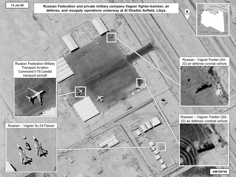 """Russian air defense equipment, including SA-22s, are present in Libya and operated by Russia, the Wagner Group or their proxies."""" (Courtesy U.S. Africa Command, July 13, 2020)"""