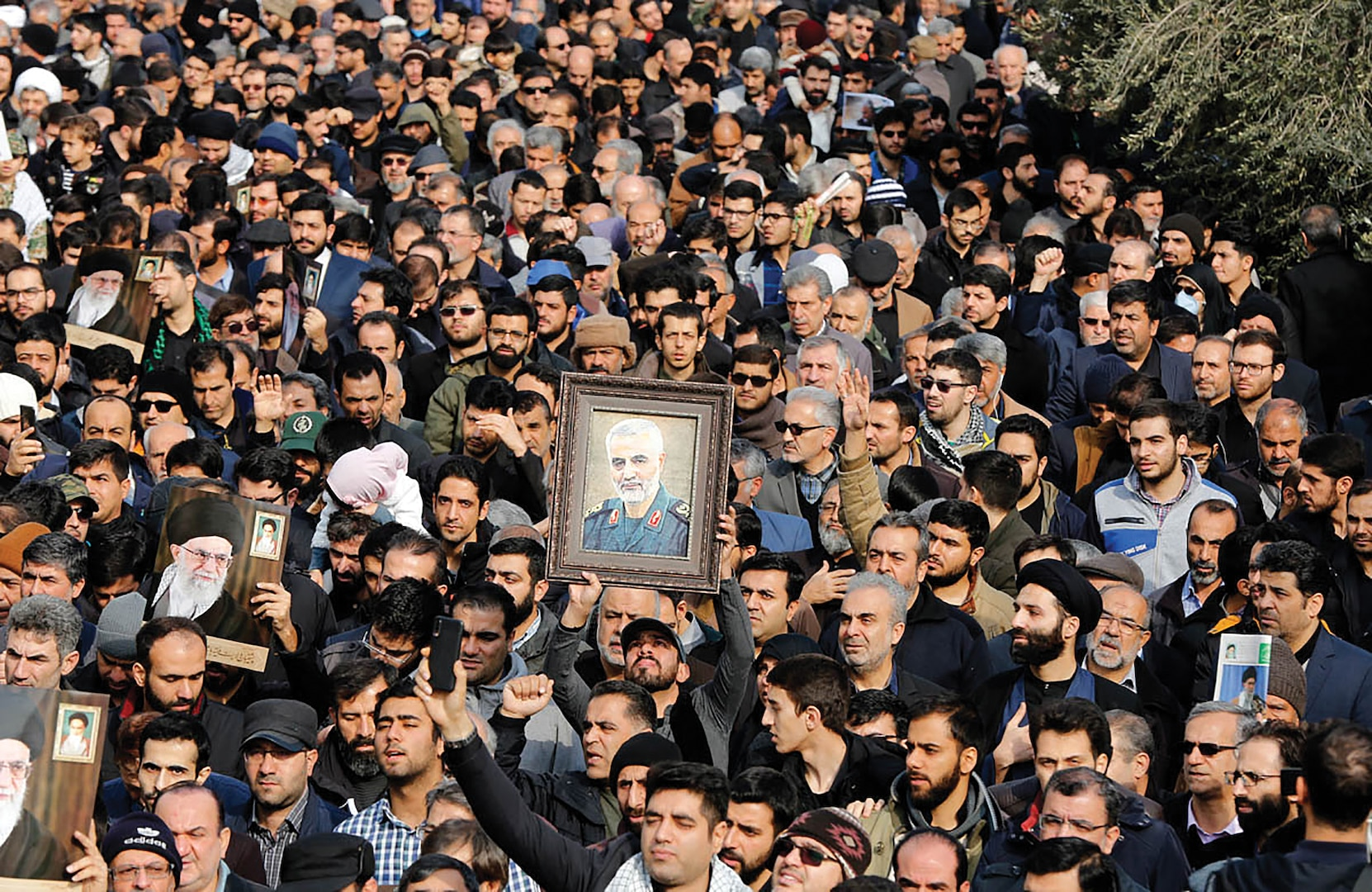 """Funeral of Qassem Soleimani killed in an American drone attack. Soleimani was an Iranian major general in the Islamic Revolutionary Guard Corps (IRGC)."""" (saeediex / Shutterstock.com, Jan 7, 2020)"""