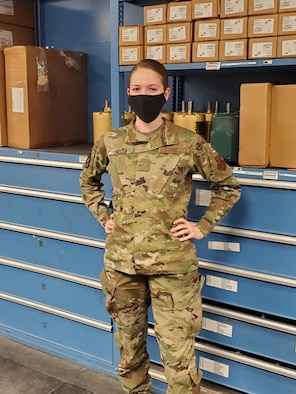 Amn Emily Hanna works in the Facility Maintenance Section at Minot Air Force Base, North Dakota March 8, 2021.