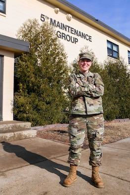 SSgt. Amanda West, a California native, is the NCO in charge of Aircraft Maintenance Unit scheduling at Minot Air Force Base, North Dakota March 8, 2021.