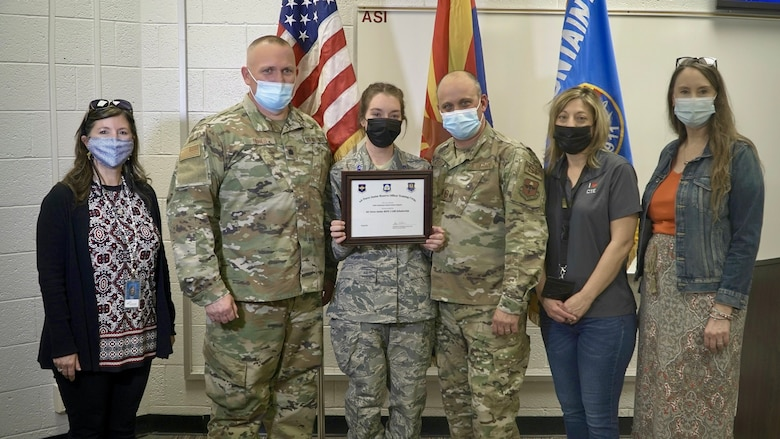 Cadet Audra Lindquist, a senior at Shadow Mountain High School, Phoenix, AZ, Air Force Junior ROTC Unit AZ-911, is a recipient of The J-100 AFJROTC Character-in-Leadership Scholarship.