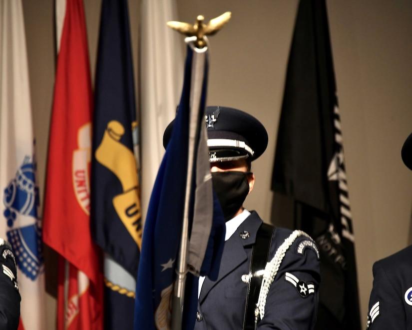 JBA Honor Guard all-female colors team performs at the Women's Memorial