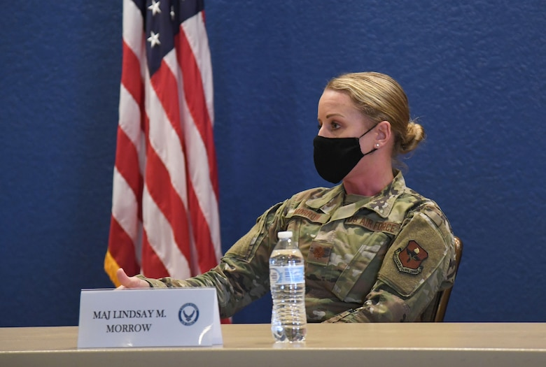 U.S. Air Force Maj. Lindsay Morrow, 81st Healthcare Operations Squadron emergency room flight chief, responds to audience questions inside the Bay Breeze Event Center at Keesler Air Force Base, Mississippi, March 11, 2021. Keesler hosted a panel discussion made up of five women in recognition of Women's History Month. (U.S. Air Force photo by Kemberly Groue)