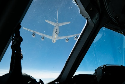 Women from the 437th Airlift Wing, Joint Base Charleston, S.C., conducted a C-17 all-female two-ship flight which included an aerial refueling mission with a KC-135 assigned to the 171st Air Refueling Wing, Pittsburg, Pennsylvania, March 17. 2021. The two-ship all-female formation was conducted to commemorate Women's History Month. (U.S. Air Force photo by Staff Sgt. Rachel Pye)