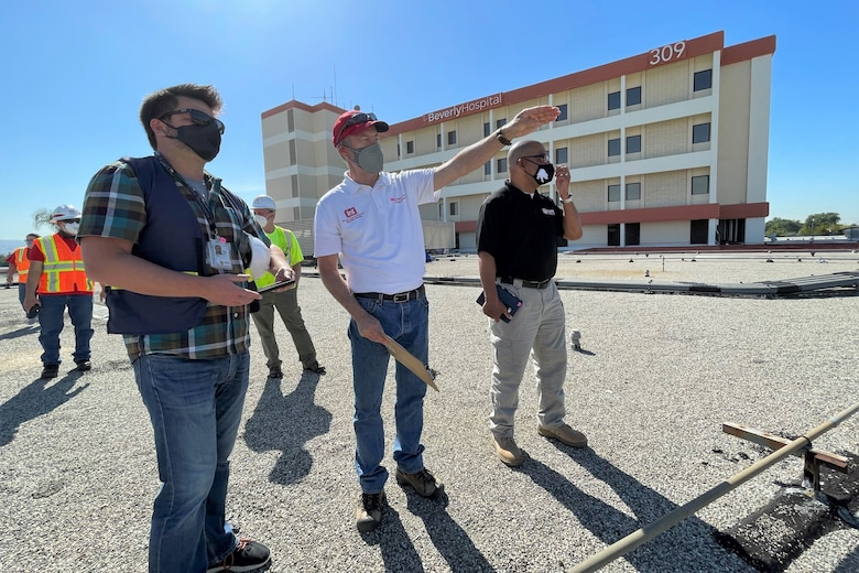 A team that includes subject-matter experts from the U.S. Army Corps of Engineers, the Federal Emergency Management Agency, the California Department of Public Health and the California Governor's Office of Emergency Services conduct a final inspection of work at Beverly Community Hospital in Montebello, California, March 19, 2021, as part of the Federal Emergency Management Agency's support to California in response to the COVID-19 pandemic.