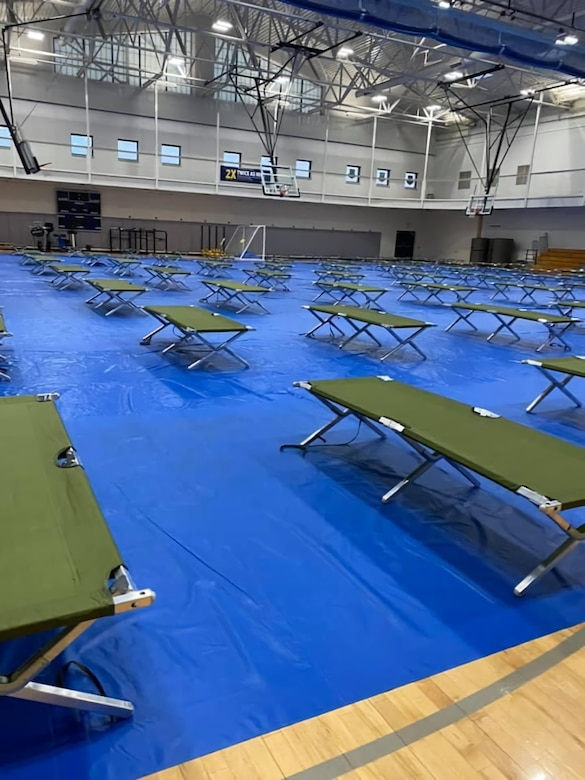 Cots sit in the fitness center at Dyess Air Force Base, Texas, February 19th 2021.