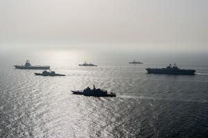 La mission CLEMENCEAU 21 est composée de plusieurs phases. La deuxième phase initiale en mer Rouge, océan Indien et Golfe arabo-persique permet aux escorteurs français Frégate de défense aérienne (FDA) Chevalier Paul, Frégate multi-missions (FREMM) Provence, Bâtiment de commandement et de ravitaillement (BCR) Var et allié (frégate belge Léopold 1er) d'assurer la présence française dans des zones stratégiques, de contribuer à l'appréciation autonome de situation et de lutter contre le terrorisme isl © Marine nationale / Défense
