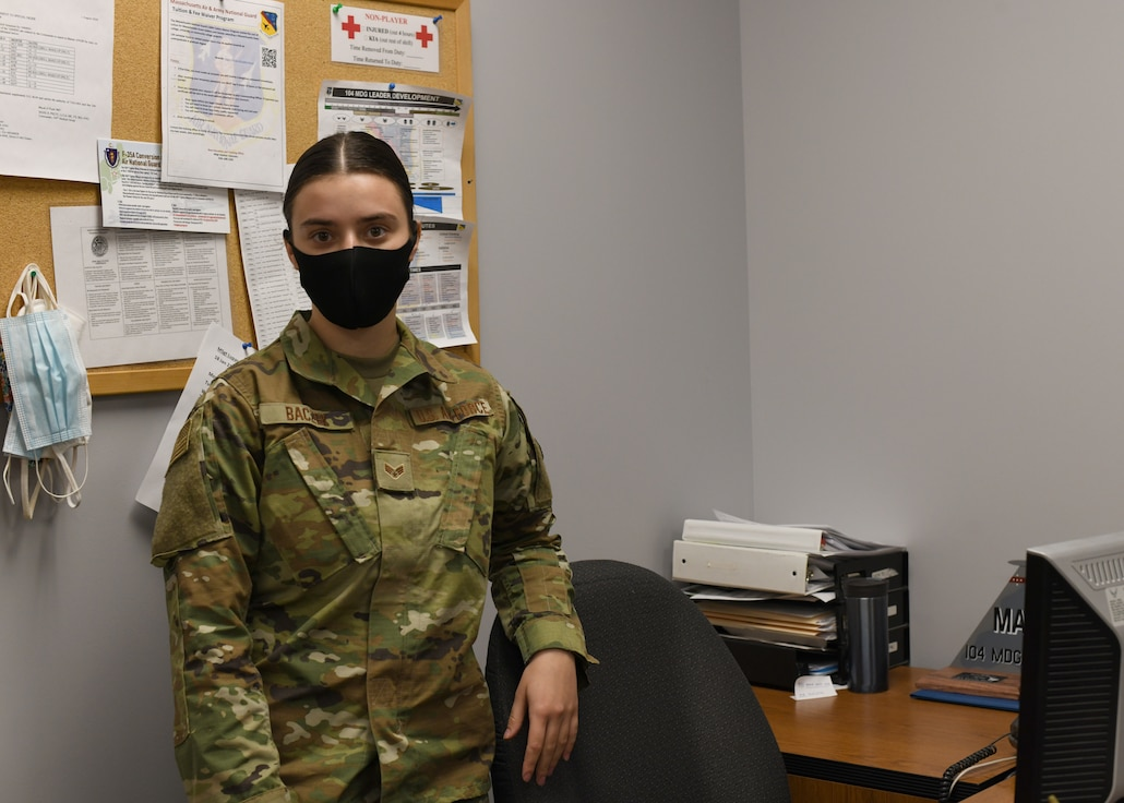Senior Airman Weronika Baczek, public health technician, 104th Medical Group, poses for a photo, in her office at Barnes Air National Guard Base, Massachusetts, Feb. 17, 2021. Contact tracing is critical for safeguarding 104th Fighter Wing mission readiness and the health of our Barnestormers and surrounding communities from COVID-19. (U.S. Air National Guard courtesy photo)