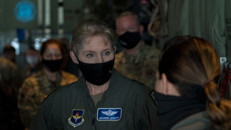Maj. Gen. Jeannie M. Levitt, director of operations and communications for the Air and Education Training Command at Joint Base San Antonio-Randolph, Texas, learns about the 36th Aeromedical Evacuation Squadron mission from Maj. Wendy Ray, flight nurse for the 36th AES, during a visit at Keesler Air Force Base, Miss., March 19, 2021. After joining the Air Force in 1992, Leavitt became the branch's first female fighter pilot in 1993. She visited the 81st Training Wing and the Air Force Reserve's 403rd Wing, and she spoke to members of Team Keesler during an event recognizing International Women's History Month. (U.S. Air Force photo by Staff Sgt. Kristen Pittman)