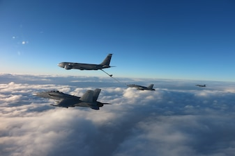Aircraft assigned to Carrier Air Wing (CVW) 3 and the Turkish air force conduct a mid-air fueling over the Black Sea.