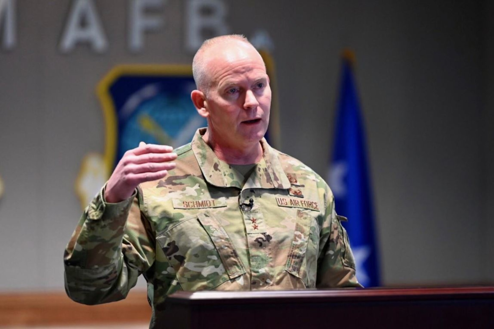 Maj. Gen. Michael Schmidt, program executive officer, Command, Control, Communications, Intelligence, and Networks, headquartered here, speaks to defense and industry leaders during a virtual presentation to AFCEA Lexington-Concord Chapter's New Horizons 2021 March 17. Schmidt provided an overview of his $12 billion portfolio, discussed the impact of the pandemic on the expansion of IT infrastructure, and provided critical program updates. (U.S. Air Force photo by Mark Herlihy)