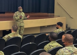 Command sergeant major speaks to soldiers