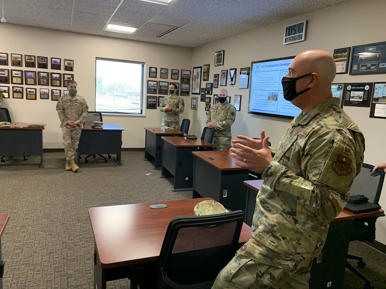 JOINT BASE SAN ANTONIO-LACKLAND, Texas -- Inter-American Air Forces Academy leaders met with the Air Education and Training Command Director of Intelligence during his first visit here at IAAFA, March 4, 2021.