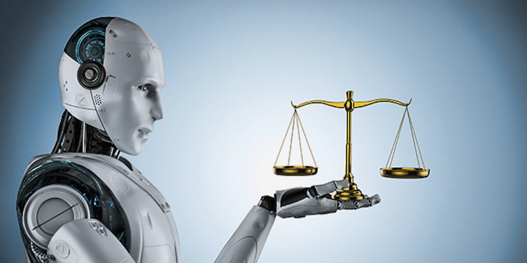 Concept image of artificial intelligence.  Robot holding justice scales.