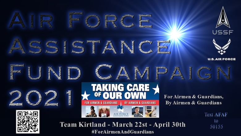 Graphic of Team Kirtland 2021 Air Force Assistance Fund Campaign with QR code