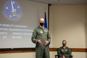 Major Jacob C. Johnson, the new commander of Detachment 3 Air Mobility Command Test and Evaluation Squadron, provides his remarks, during an Assumption of Command ceremony March 15, at Edwards Air Force Base, California. (Air Force photo by Senior Master Sgt. Alexander Berry)