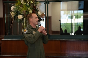 U.S. Air Force Col. Ben Jonsson, 6th Air Refueling Wing commander, delivers remarks during a senior master sergeant promotion release, March 19, 2021, at MacDill Air Force Base, Fla.