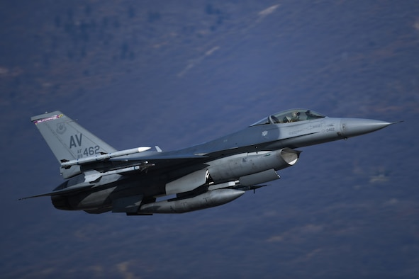 A U.S. Air Force F-16 Fighting Falcon assigned to the 555th Fighter Squadron takes-off at Aviano Air Base, Italy, March 22, 2021. Increase flying operations are key to the success of maintaining a free and open U.S. European Command and U.S. Africa Command. It also provided critical training opportunities for Airmen from the 31st Maintenance Group and 31st Operations Group. (U.S. Air Force photo by Senior Airman Ericka A. Woolever)