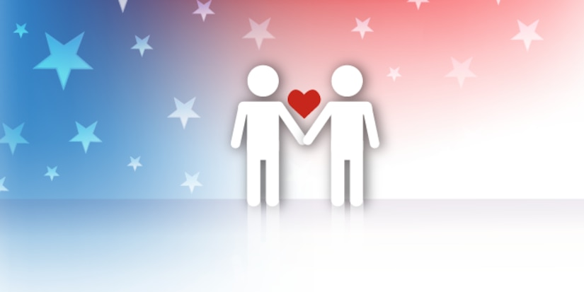 Concept image of same sex marriage. Two same gender stick figures holding hands with a heart over their hands.