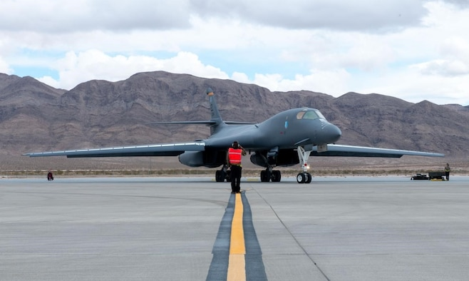 A 28th Bomb Wing B-1B Lancer taxis to the runway during a Red Flag exercise at Nellis AFB, Nev., March 12, 2021.