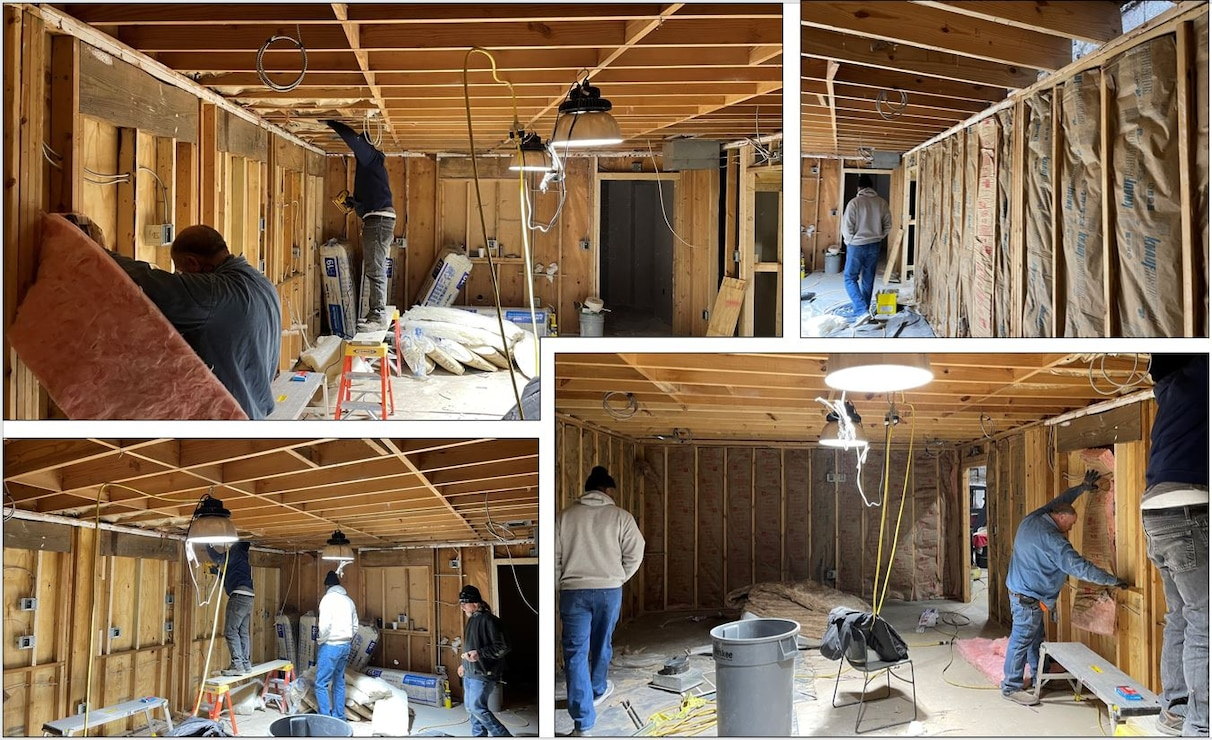 IN THE PHOTOS, a team of mechanics, electricians, carpenters, pipefitters, HVAC technicians, and revetment workers all got together to completely renovate the Tractor Shop's breakroom, literally from the ground up. These are the before photos.