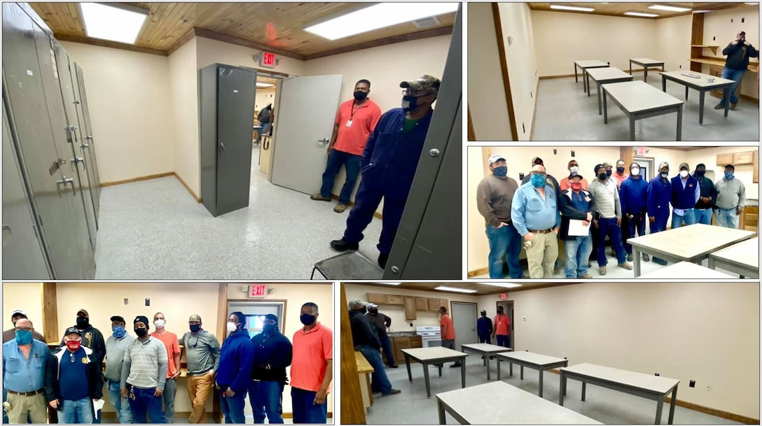 IN THE PHOTOS, a team of mechanics, electricians, carpenters, pipefitters, HVAC technicians, and revetment workers all got together to completely renovate the Tractor Shop's breakroom, literally from the ground up. These are the before photos of the breakroom.