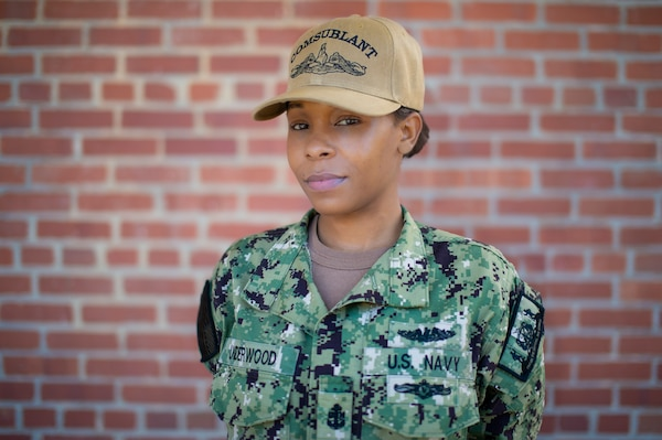 Chief Information Systems Technician (Submarine) Jasmine Underwood poses for a photo at Commander, Submarine Forces Atlantic, March 4, 2021. (