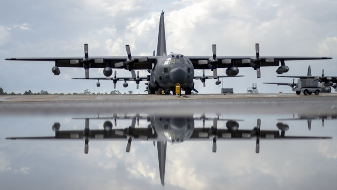 An MC-130H Combat Talon II assigned to the 15th Special Operations Squadron sits on the flightline after a morning rainstorm at Hurlburt Field, Fla., Aug. 21, 2018. The MC-130H is used for infiltration, exfiltration and resupply in contested or denied areas, and is capable of flying at altitudes as low as a few hundred feet above the ground through inclement and low-visibility weather conditions. (U.S. Air Force photo by Staff Sgt. Victor J. Caputo)