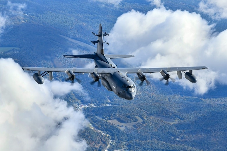 An EC-130J Commando Solo from the 193rd Special Operations Squadron takes flight from Harrisburg Air National Guard Base, Pa., Oct. 2, 2020. The EC-130J Commando Solo, a specially-modified four-engine Hercules transport, conducts airborne Information Operations via digital and analog radio and television broadcasts. (U.S. Air Force photo